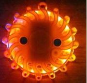 Obrázek LED výstražné světlo 16LED na 2x baterii AA, oranžové