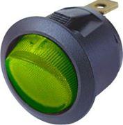 Obrázek Spínač kolébkový kulatý 20A zelený s podsvícením