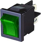 Obrázek Spínač kolébkový hranatý 10A zelený s podsvícením