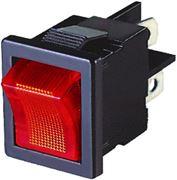 Obrázek Spínač kolébkový hranatý 10A červený s podsvícením