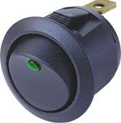 Obrázek Spínač kolébkový kulatý 20A zelená LED