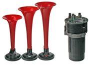 Obrázek 3-tónová fanfára 220mm, 12V červená s kompresorem ECE R28