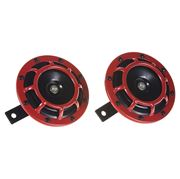 Obrázek Diskový klakson (vysoký a nízký tón), červený, 120mm, 12V