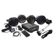 Obrázek 4.1CH zvukový systém na motocykl, skútr, ATV, loď s FM, USB, AUX, BT, černé
